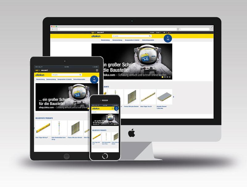 Doka's Online Shop enables customers to use any mainstream terminal device (PC, tablet, smartphone) and operating system to access the online offering and buy Doka products anywhere, at any time. Photo: Doka