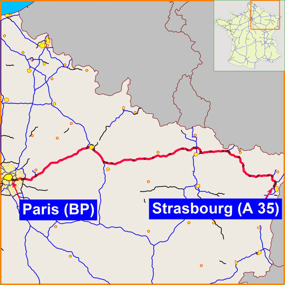The A4 route from Paris to Strasbourg
