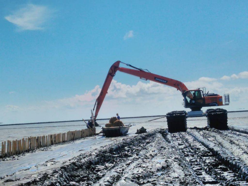 Doosan Excavator learns to swim in Germany