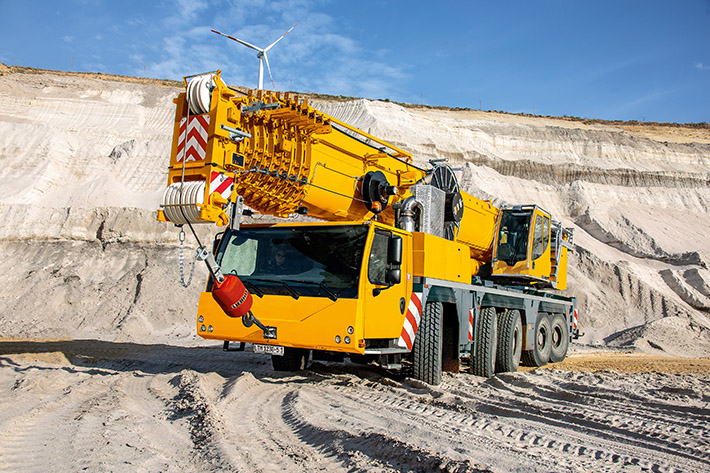 The Liebherr LTM 1230-5.1 mobile crane has a 75-metre telescopic boom