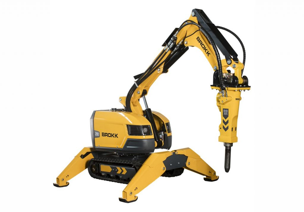 The Brokk 200 packs the punch of a 3 ton demolition robot in a 2 ton package