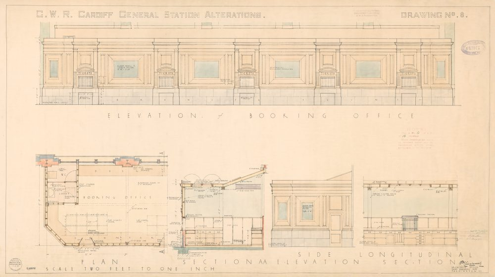 Cardiff Central Station Alterations Drawing No. 8. 2 May 1933.