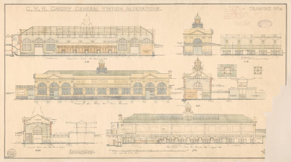 Cardiff Central Station Alterations Drawing No. 4. 2 May 1933.