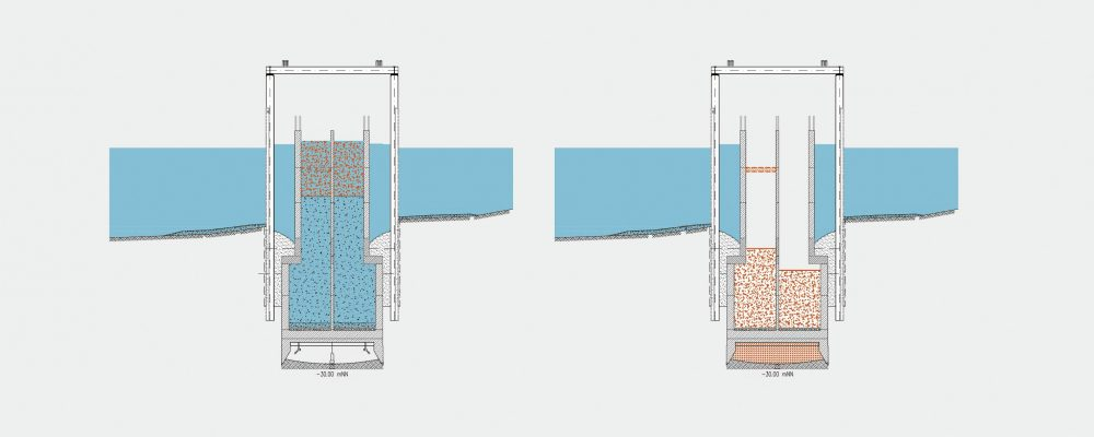 The first step is to excavate the floor using compressed air and ballasting; then the compressed air caisson is lowered (left). Subsequently the reinforcement can be installed and the working chamber filled with concrete (right). Copyright: Doka