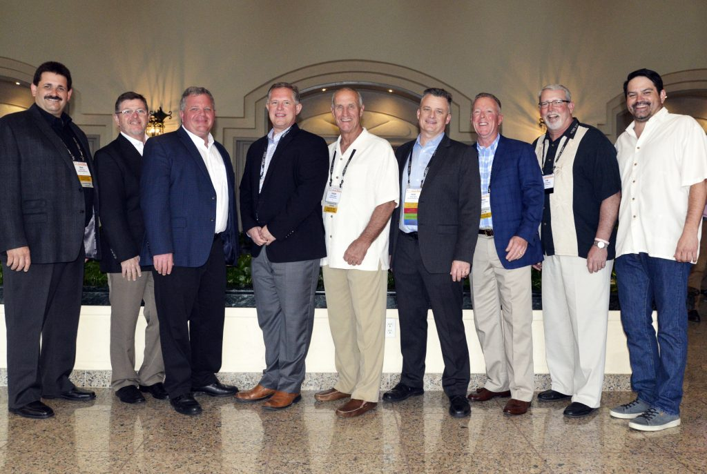 The 2019-2012 ISSA Board of Directors, pictured from left: Brad Pearce, Dave Welborn, Rex Eberly, Larry Tomkins, Chuck Ingram, Doug Hogue, Dan Patenaude, Tim Harrawood, and Jason Lampley. Not pictured: Eric Reimschiissel, Fabio Mendez, Howie Snyder, Bob Jerman. Photo by Tom Kuennen, courtest of FP2.