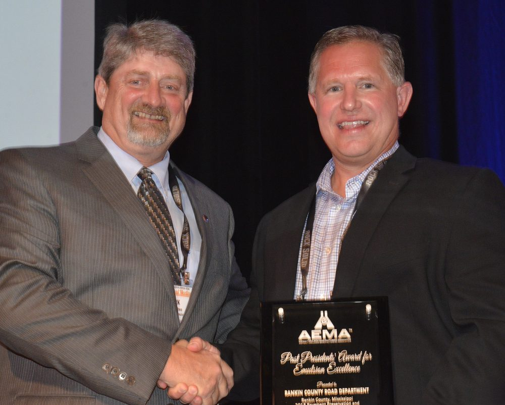 The Rankin County, MS, Road Department; TL Wallace Construction; and Ergon Asphalt & Emulsions, Inc. were awarded the 2019 AEMA Past President's Award for Emulsion Excellence
