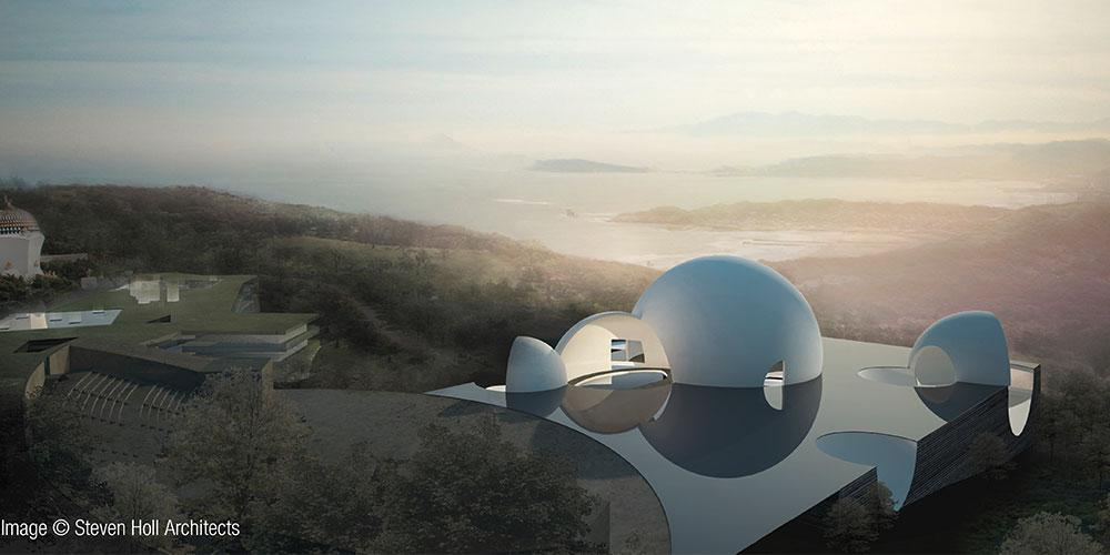 The cemetery ChinPaoSan is located 40 minutes from Taipei on a magnificent vantage point with view of the sea. Photo: ChinPaoSan Necropolis.jpg Copyright: Steven Holl Architects
