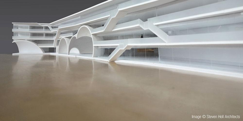The new Arrival Hall is destined to house tombs, a ceremonial place of worship, auditorium and small museums. Photo: ChinPaoSan_Arrival Hall.jpg Copyright: Steven Holl Architects