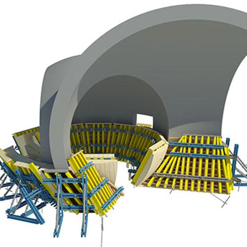 The special formwork components for the spheres are planned using 3D software and manufactured in the Doka Pre-assembly Service. Photo: ChinPaoSan_Mock-up MIT.jpg Copyright: Doka