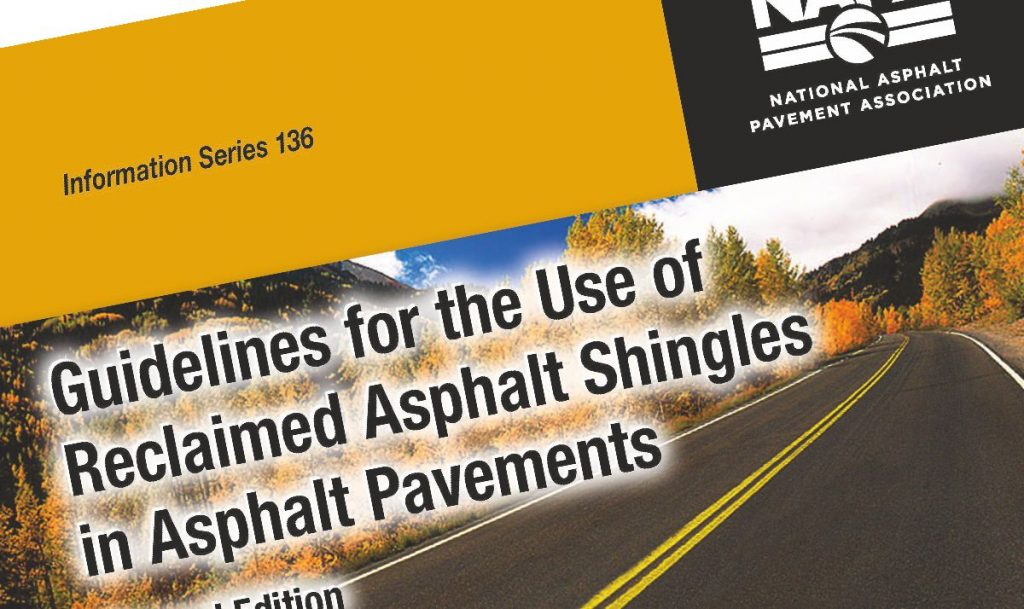NAPA updates Use of Shingles in Asphalt Pavements Guide