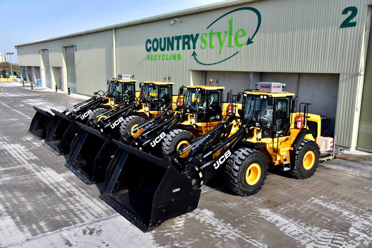 Four brand new JCB 457 Wheel Loaders for Kent waste firm Countrystyle Recycling
