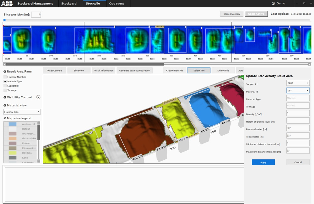 ABB Ability Stockyard Management System enables quality management with 3D stockpile and yard visualization