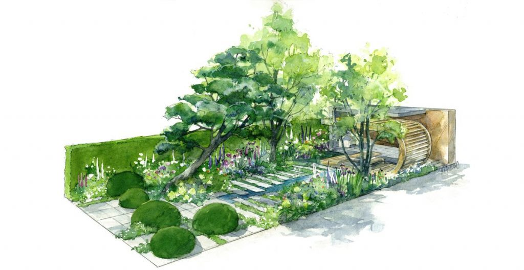 The construction of the Morgan Stanley Garden – seen here in this architect's sketch – will be the first major project for Volvo's new electric ECR25.