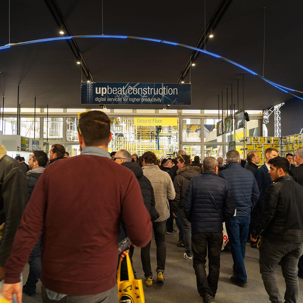 """In the area """"upbeat construction – digital services for higher productivity"""", visitors were given a comprehensive overview of the latest digital solutions and services from Doka. Photo: Upbeat construction.jpg Copyright: Doka"""