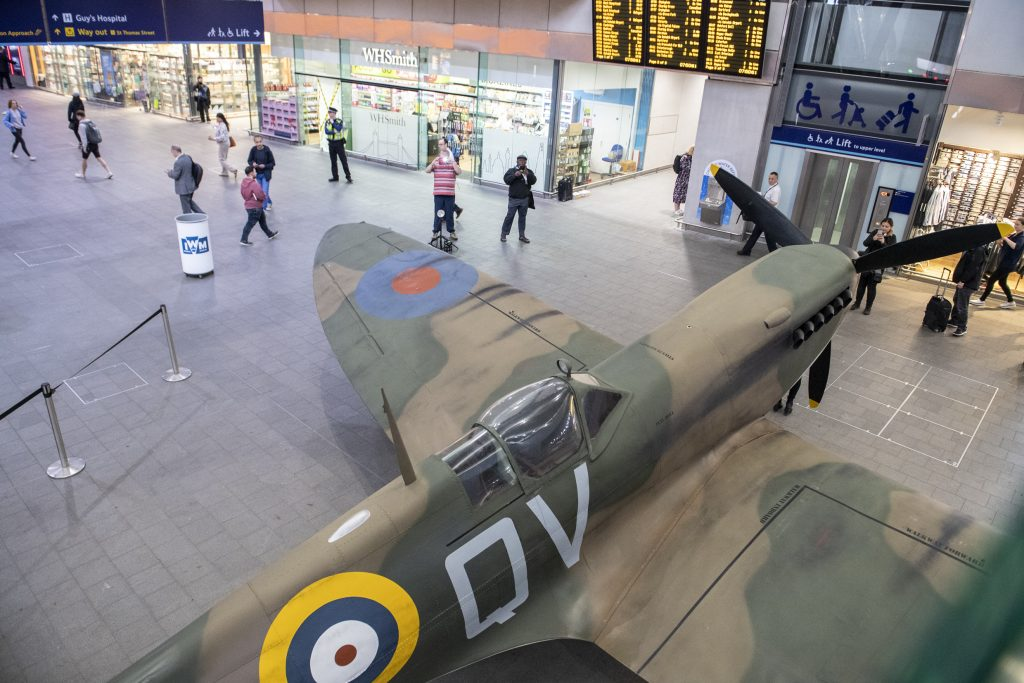 Spitfire on display on the concourse of London Bridge Station, London to commemorate the 75th anniversary of D-Day.