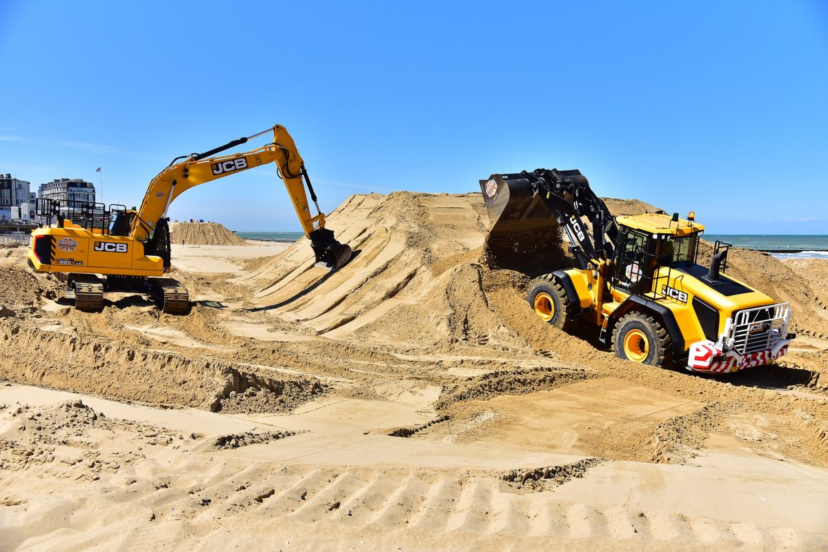 JCB X Series Excavators headed to the beach for the Red Bull Quicksand races