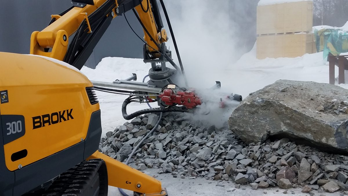 Brokk MMB326 Hydraulic Drifter Rock Drill improves safety in cramped jobsites