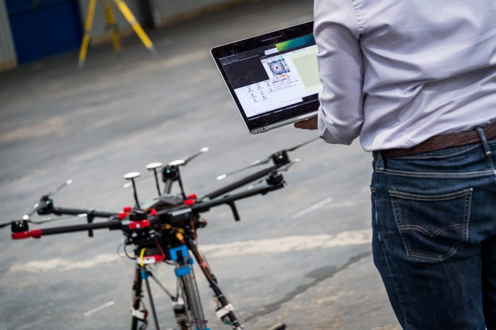 University of Leeds demonstrated their Pothole repair prototype drone