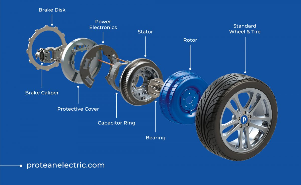 Exploded view of Protean in-hub motor with Alcon brakes