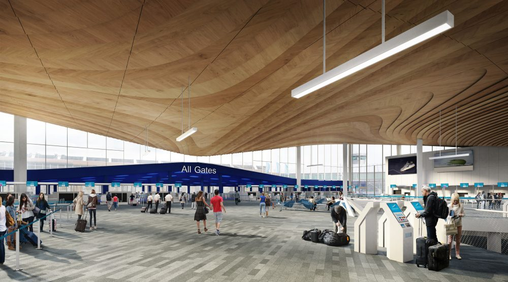 Illustration image of departure hall (towards security check). Image by Arkkitehtitoimisto ALA Oy