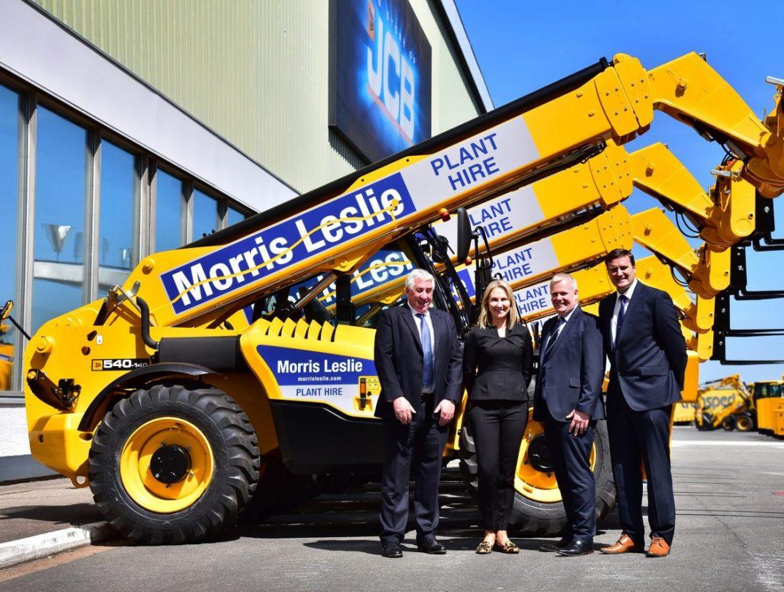 Morris Leslie JCB Loadall order, pictured form left: Morris Leslie, Yvette Henshall-Bell, Graham Ogilvie and David Park.