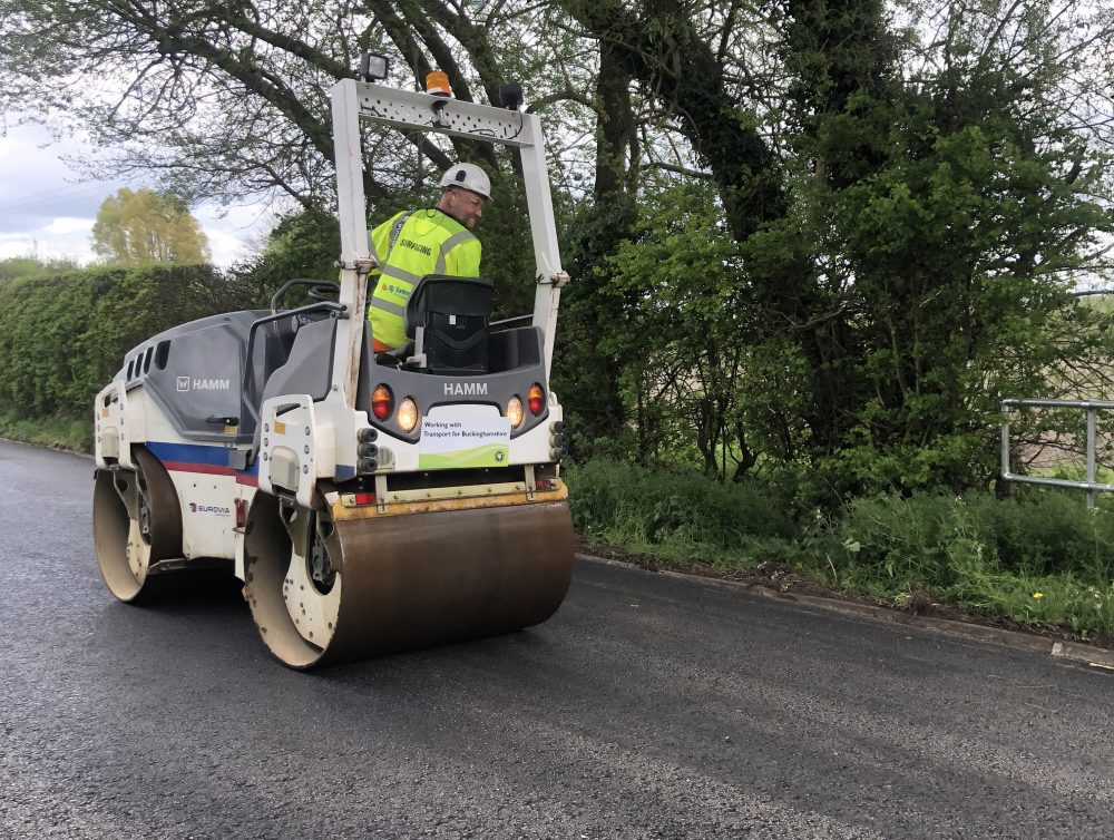 Road roller at Slapton resurfacing