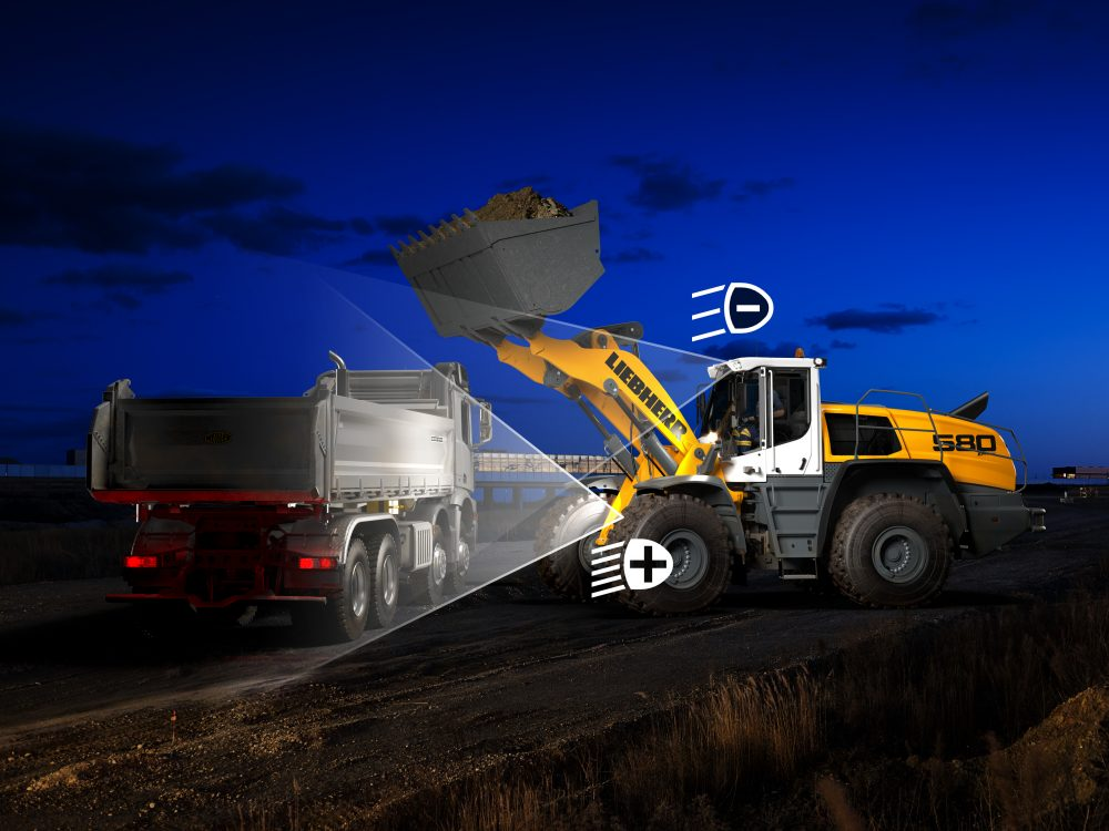 Adaptive lighting improves safety on Liebherr L586 XPower wheel loaders