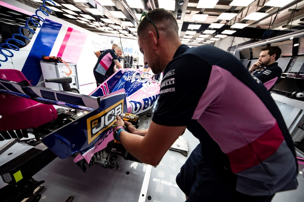 SportPesa Racing Point F1 team engineer puts the new JCB tools to the test
