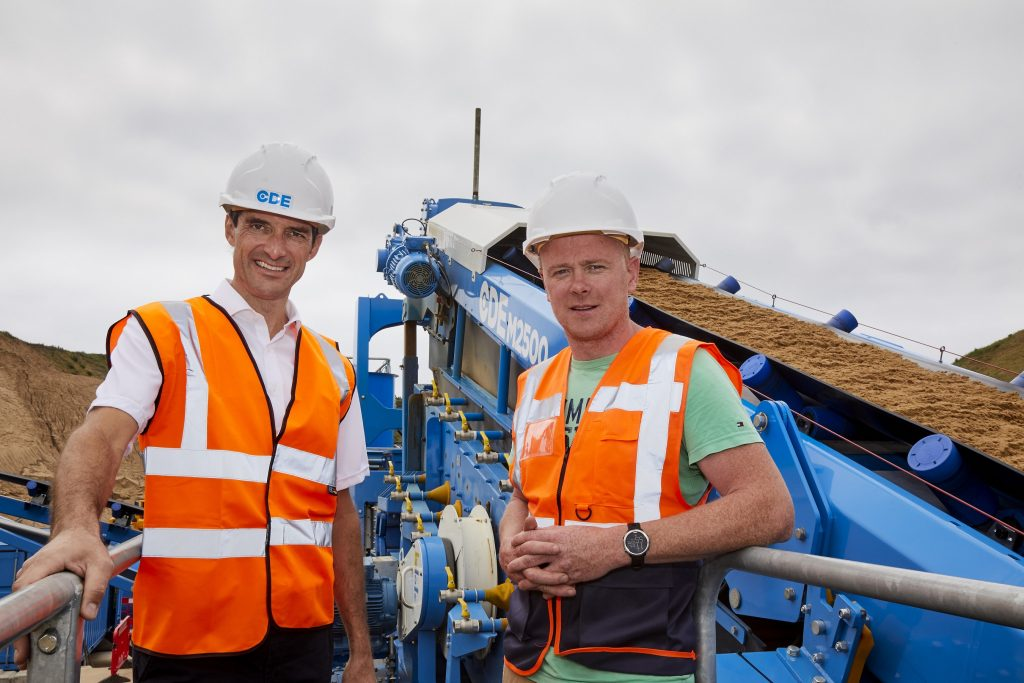 Pictured (L-R) are Enda Ivanoff, Group Business Development Director at CDE and Tony D'Arcy, Director at D'Arcy Sands, at the official opening of the new D'Arcy Sands wet processing plant near Enniscorthy, Wexford.