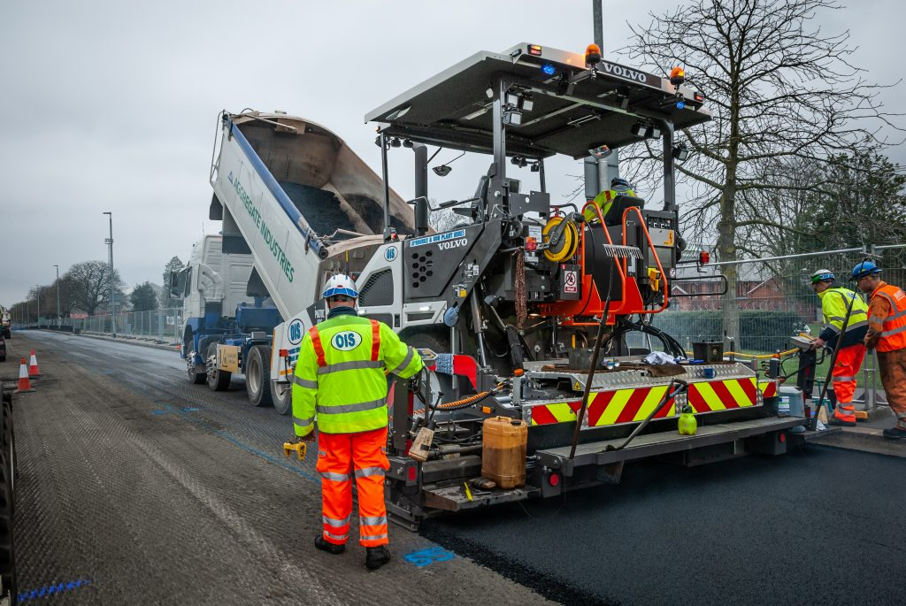 O'Rourke Infrastructure put a third Volvo P6870C wheeled paver to work in Portsmouth