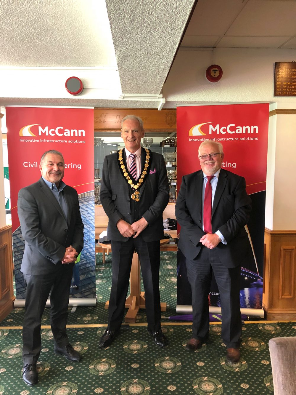(left to right): Tiz Gibson, Local Authority Business Director at McCann, Councillor Kevin Rostance and Steve Adcock, Contracts and Technical Director at McCann