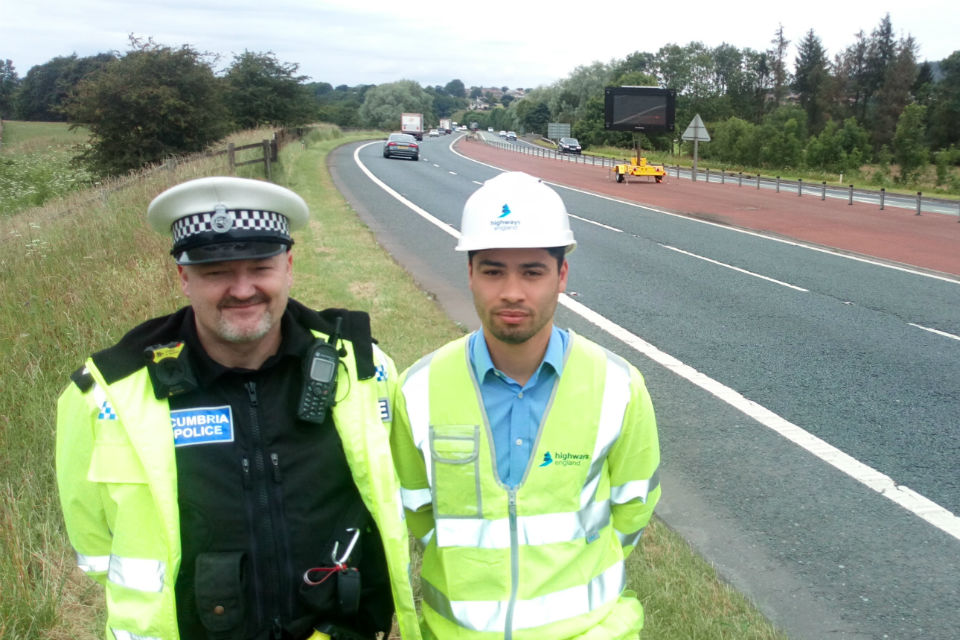 Inspector Steve Minnikin (left) from Cumbria Police - which is backing the pilot project - is pictured with Highways England project manager Jobert Fermilan
