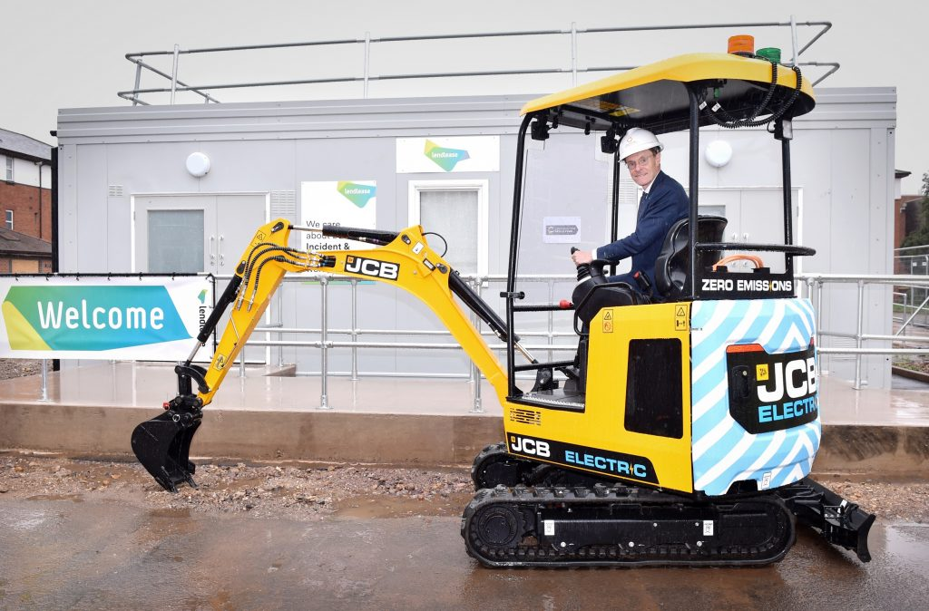 Opening of a training school in Birmingham, to support the Commonwealth Games which the City is hosting in 2022. Pictured is Birmingham Mayor Andy Street with JCB electric mini during the the first sod digging of earth to mark the start of work on the project