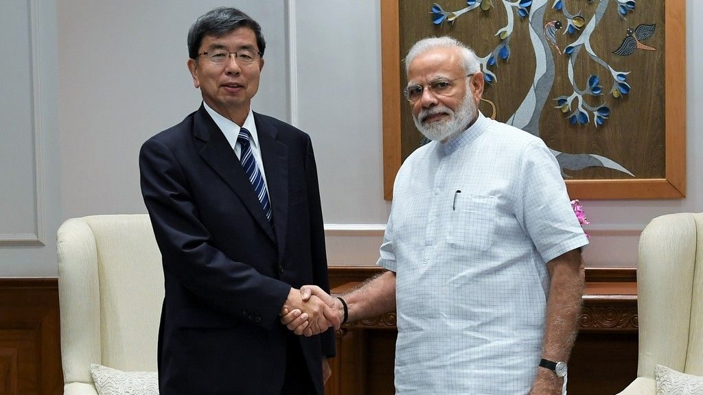 ADB President Mr. Takehiko Nakao with India Prime Minister Mr. Narendra Modi during their meeting on 29 August 2019.