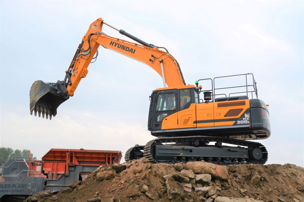Hyundai HX300L Excavator proves a crushing success for Derby Crushing and Screening