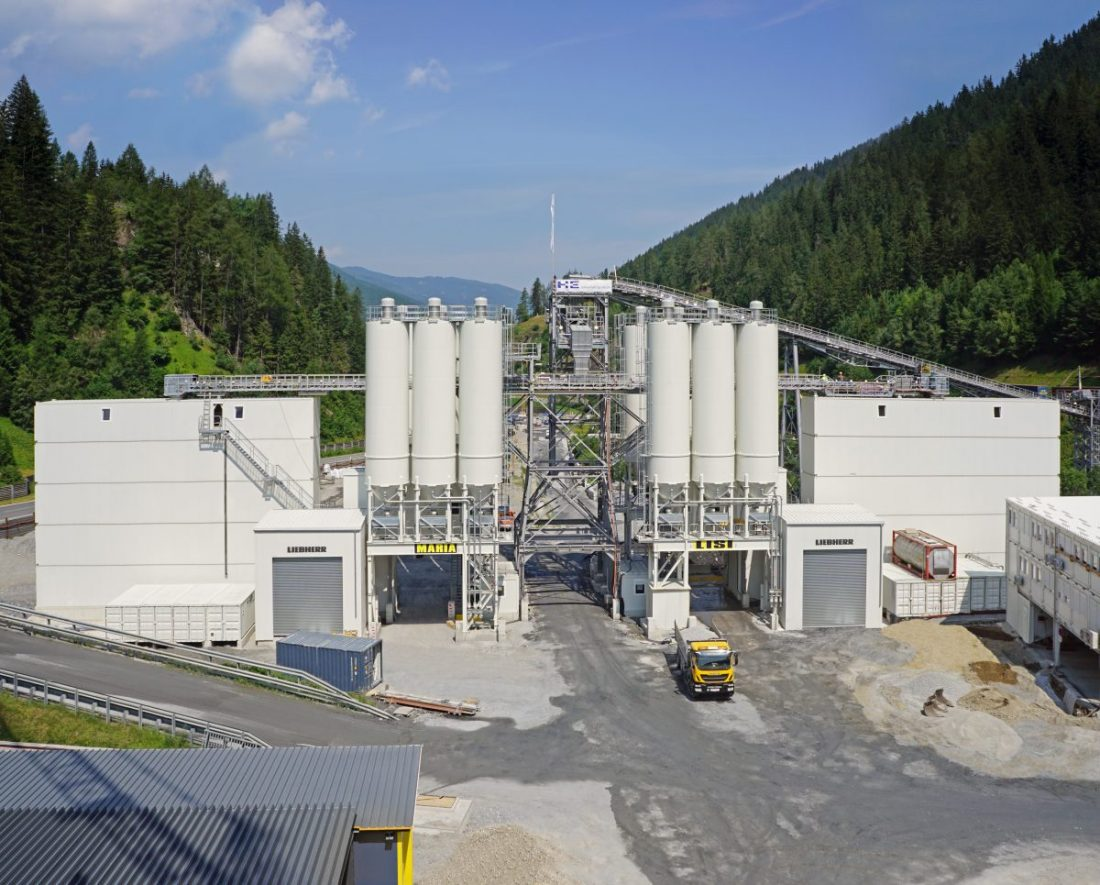 Brenner Base Tunnel concrete produced by two Liebherr Betonmix 3.0 mixing plants