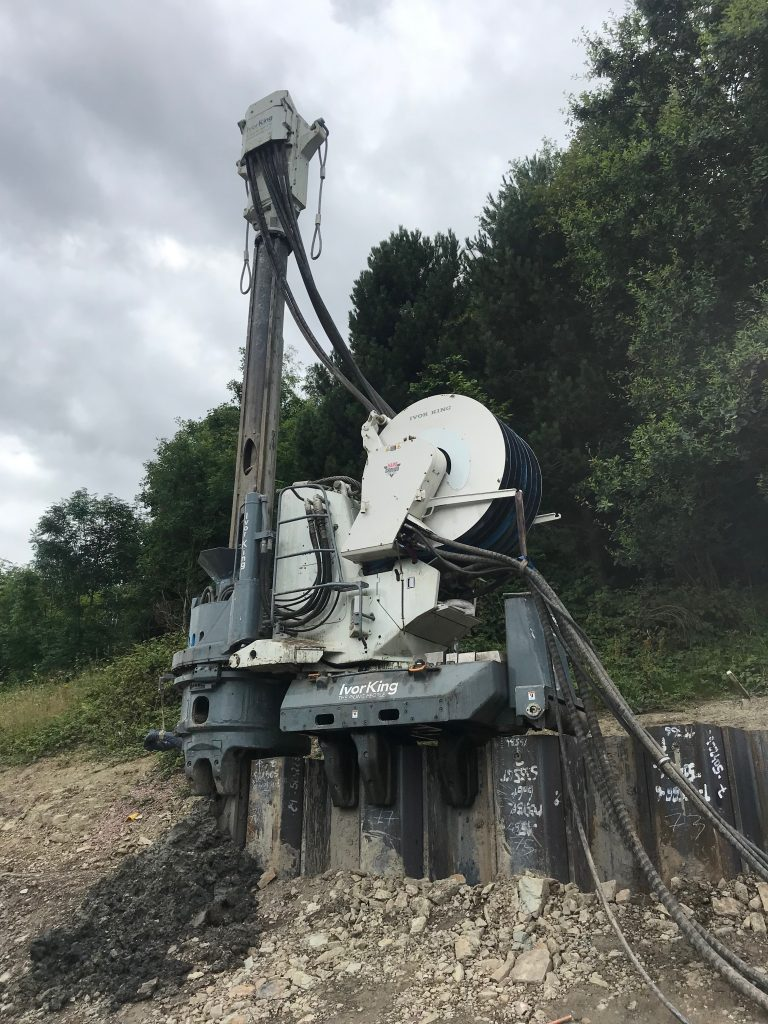 The GIKEN Silent Piler rig which was introduced on the A500 widening scheme to reduce disruption for residents