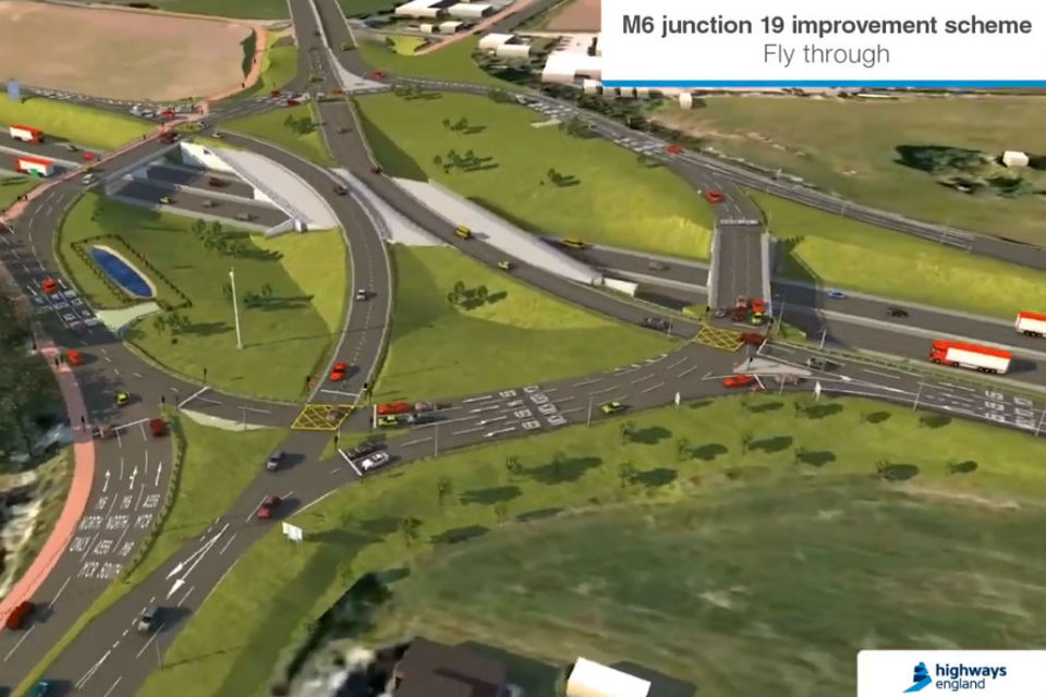 Aerial picture of future roundabout layout looking north from A556