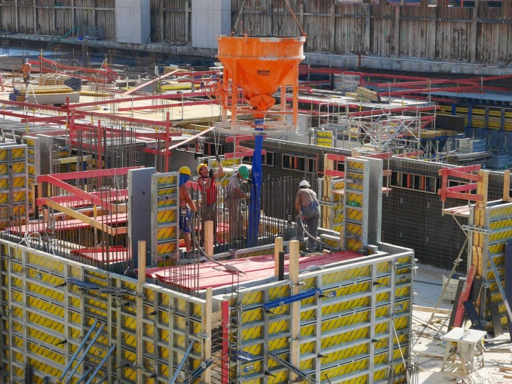 Formwork being used on a jobsite