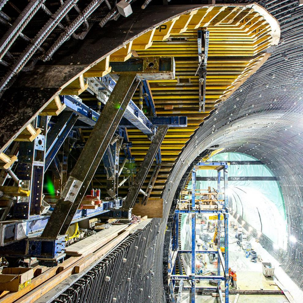 Martin Place station has nine individual tunnel cross-sections for which Doka designed unique formwork solutions. Image supplied by Sydney Metro