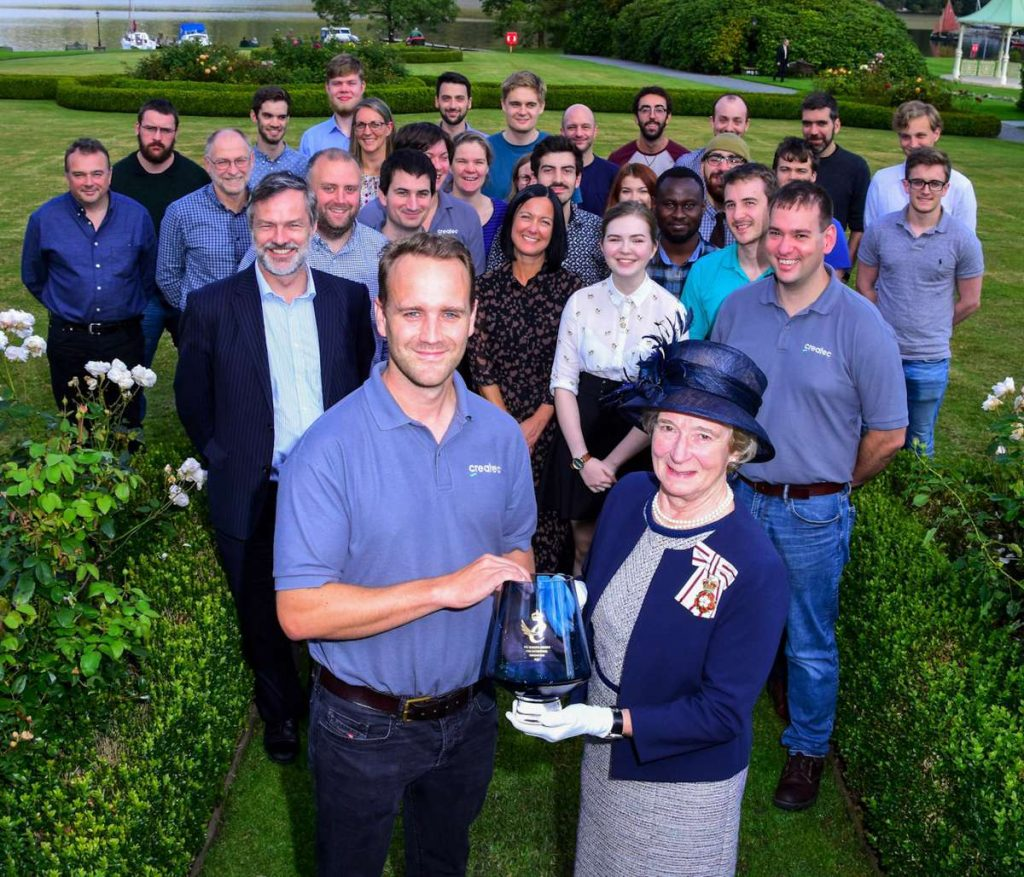Chief executive Matt Mellor receives Createc's Queen's Award for Innovation, presented by Claire Hensman, Lord Lieutenant of Cumbria at the company's recent conference at the Inn on the Lake, at Glenridding. Createc received its first Queen's Award for International Trade last year.