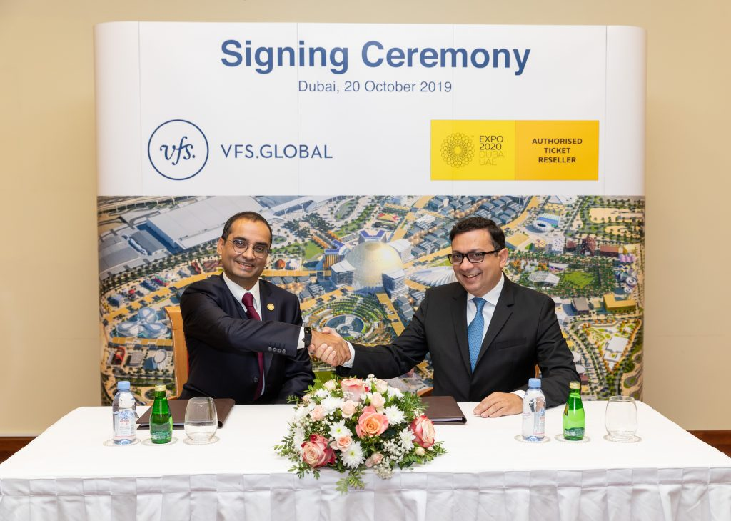 Mr. Sanjive Khosla, Chief Commercial Officer – Commercial, EXPO 2020 (left) and Mr. Zubin Karkaria, CEO, VFS Global Group (right) signing the contract in Dubai, UAE