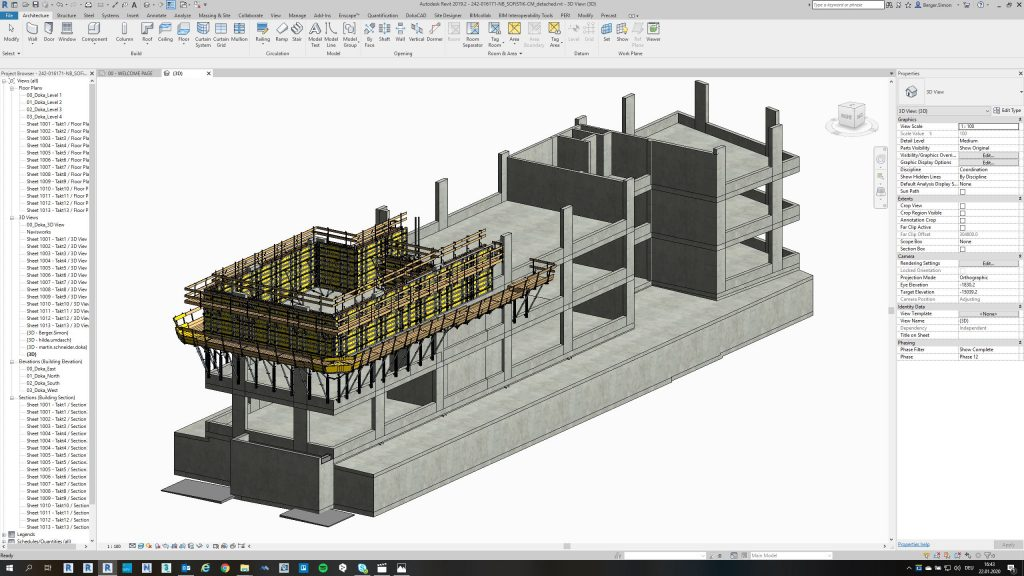 Doka used the software DokaCAD for Revit to map the formwork solutions for the SOFiSTiK office building project in Germany. Copyright: Doka