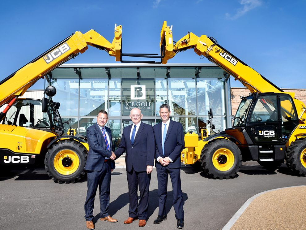 Pictured left to right is Gunn JCB Sales Director Mark Roberts, Ridgway Rentals Owner Tim Jones and JCB Sales Director Steve Smith outside JCB Golf Academy, Rocester