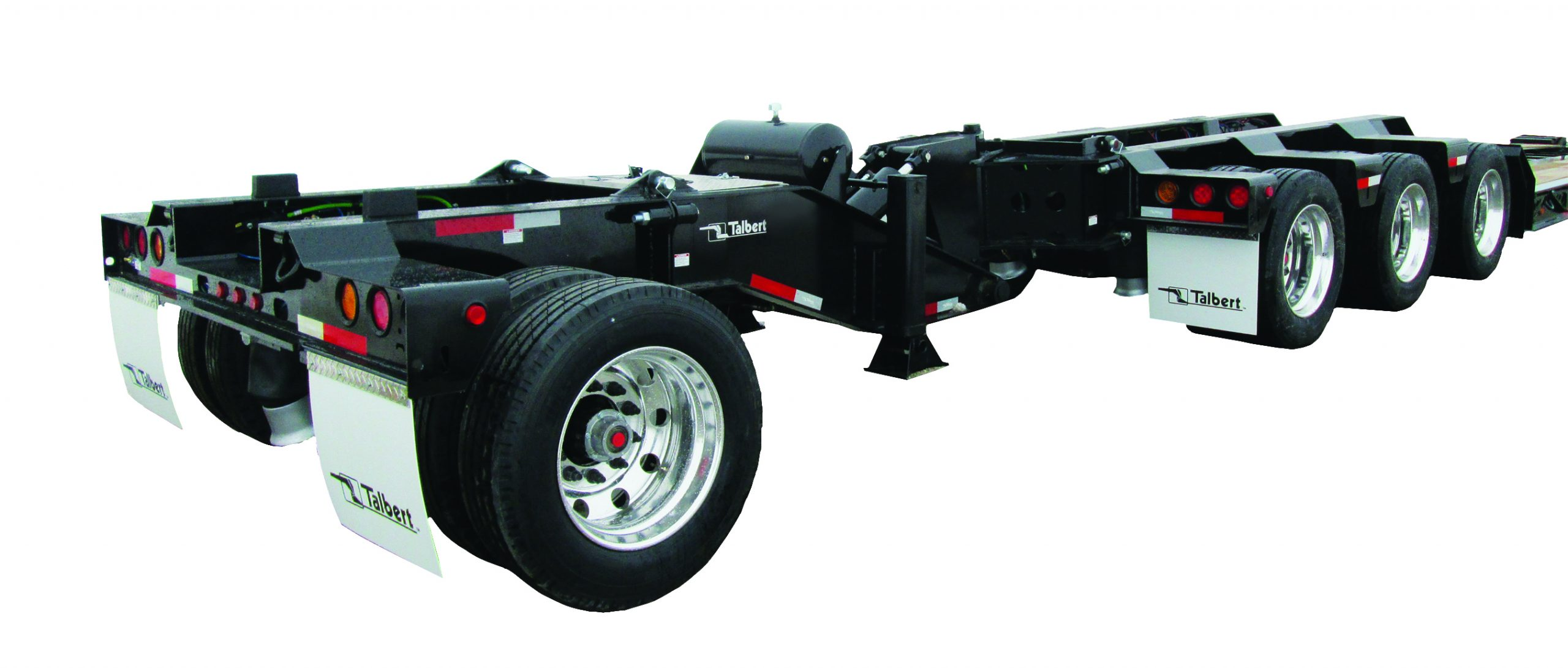 Talbert Manufacturing offers the 65SA Modular Trailer with unique design that features a flip extension to accommodate a tandem- or tri-axle jeep dolly, allowing for maximum load configurations. It can also pair with Talbert's revolutionary E2 or E3Nitro axle extension, which dampens axle movement and controls load transfer.