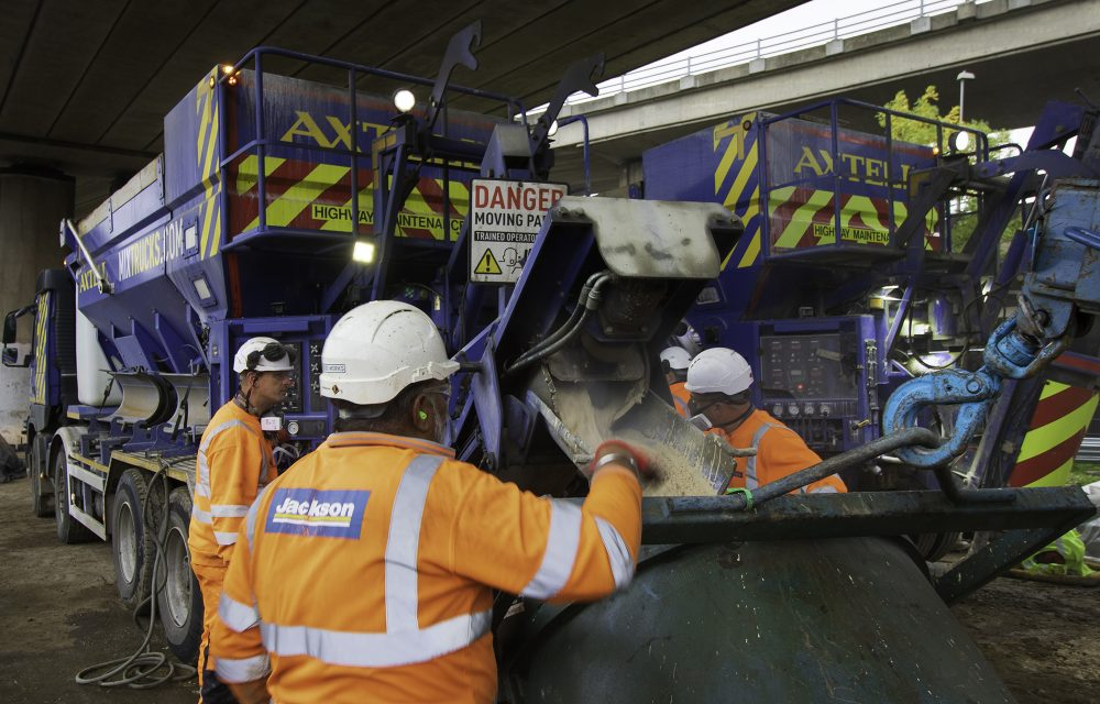 The concrete being mixed on site by a volumetric truck