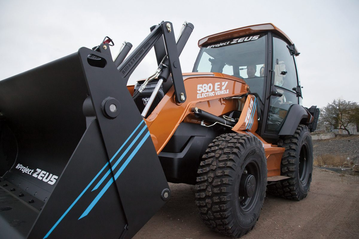 CASE unveils the 580EV Project Zeus - the first fully electric Backhoe Loader