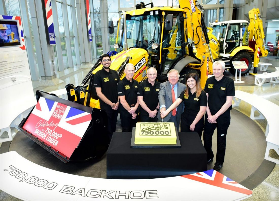 JCB celebrating production of 750,000 backhoe loaders in Rocester
