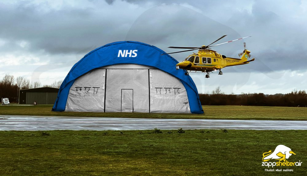 Zappshelter industrial strength air-beam tents perfect for the NHS front-line