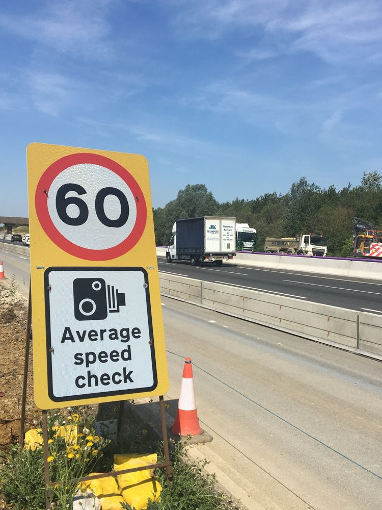 60mph in use on the M1 between junctions 13 and 16 in Northamptonshire